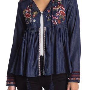 Desigual Vetta Embroidered Blouse sz XL